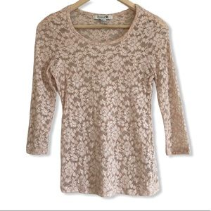 Forever 21 Pink Stretch Lace Sheer 3/4 Sleeve Top